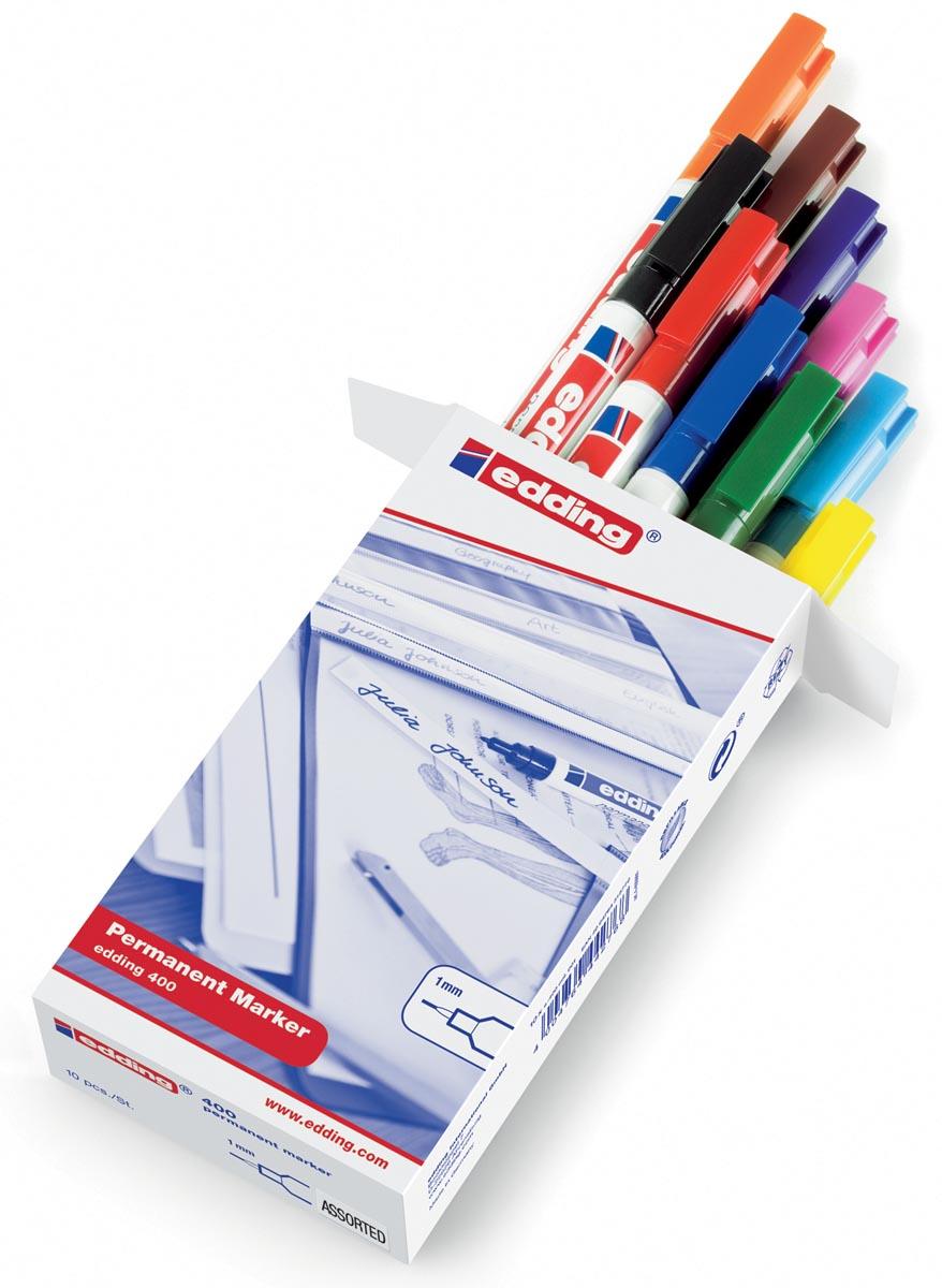 Edding permanent marker 400, doos van 10 stuks in geassorteerde kleuren