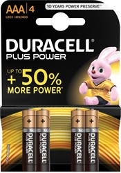 Duracell batterijen Plus Power AAA, blister van 4 stuks