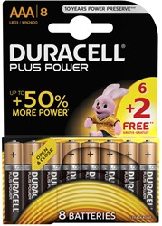 Duracell batterijen Plus Power AAA, blister van 6+2 gratis
