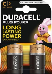 Duracell batterijen Plus Power C, blister van 2 stuks