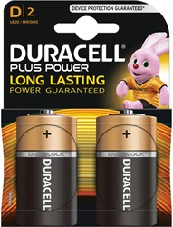 Duracell batterijen Plus Power D, blister van 2 stuks