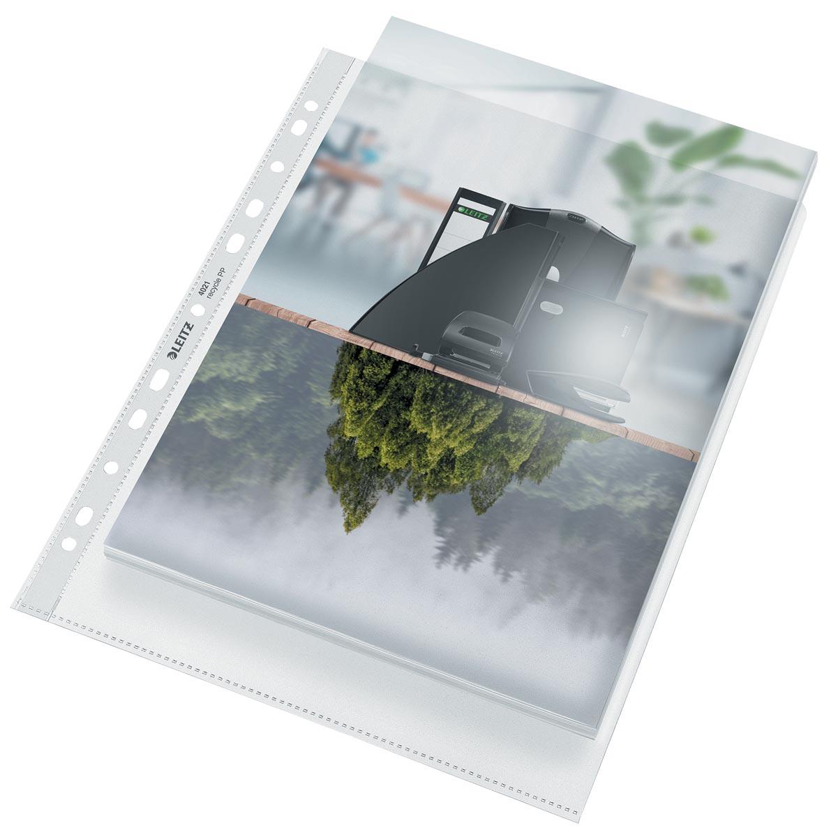 Leitz Recycle geperforeerde Maxi showtas, ft A4, 100 micron, gekorreld, doos van 25 stuks