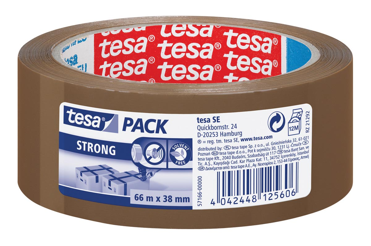 Tesa verpakkingsplakband Strong, ft 38 mm x 66 m, PP, bruin