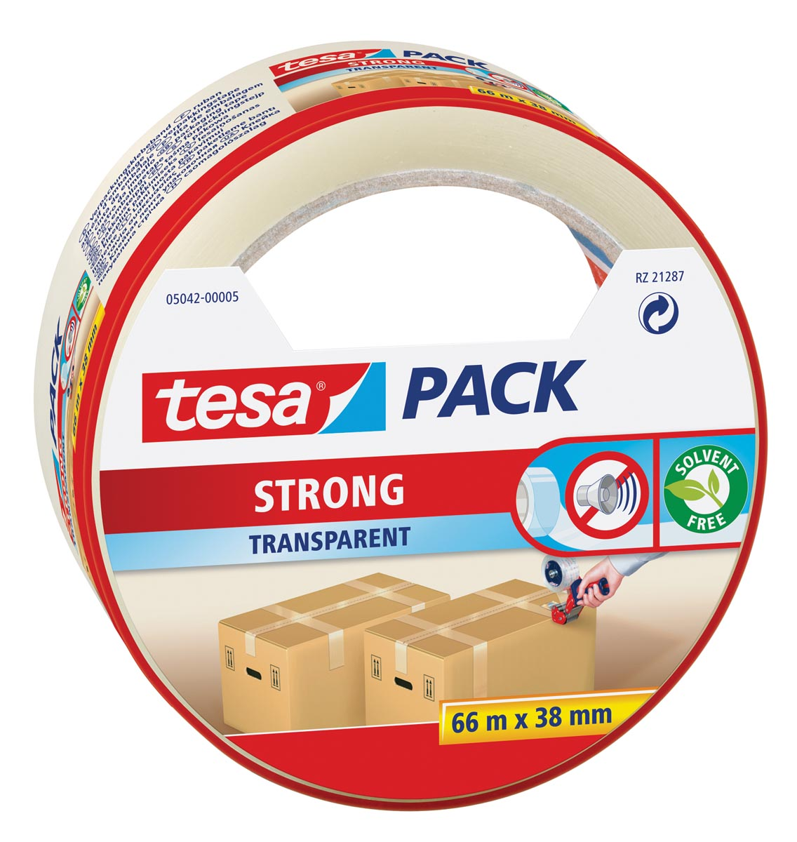 Tesa verpakkingsplakband Strong, ft 38 mm x 66 m, PP, transparant