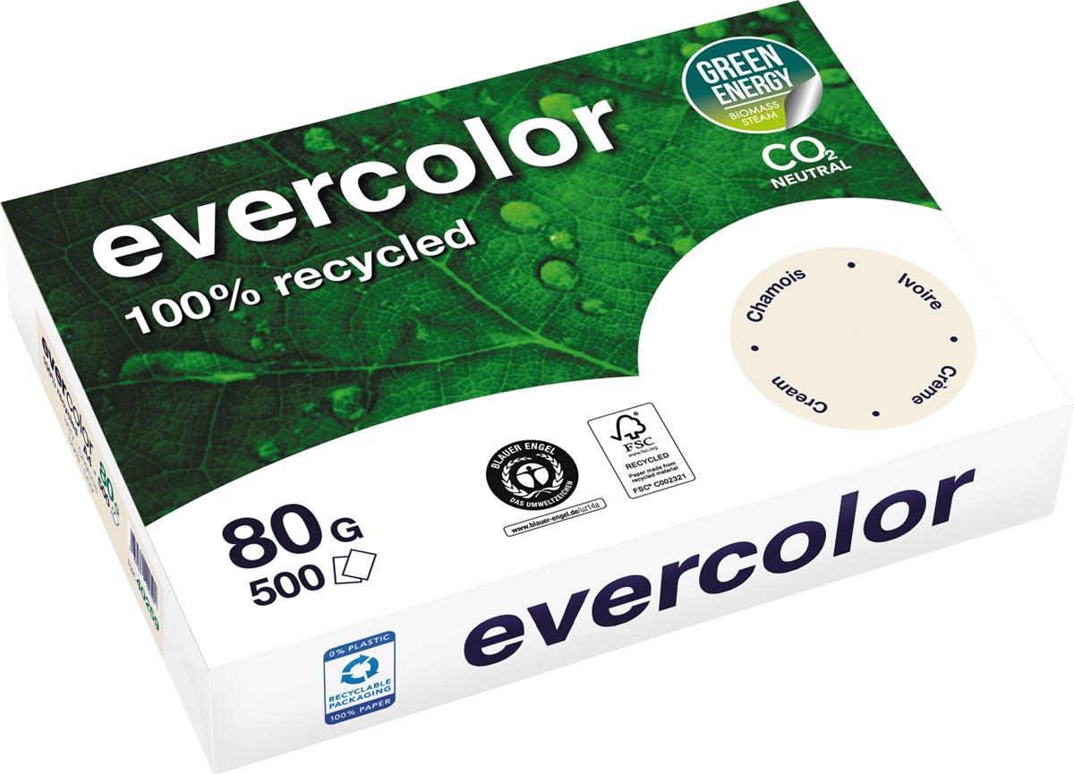 Clairefontaine Evercolor gekleurd gerecycleerd papier, A4, 80 g, 500 vel, ivoor