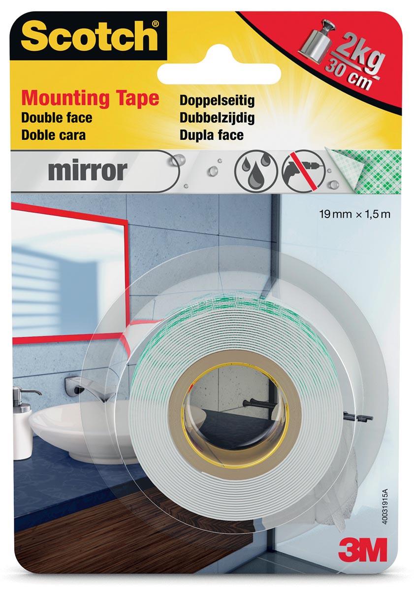 Scotch montagetape Mirror, ft 19 mm x 1,5 m, blisterverpakking