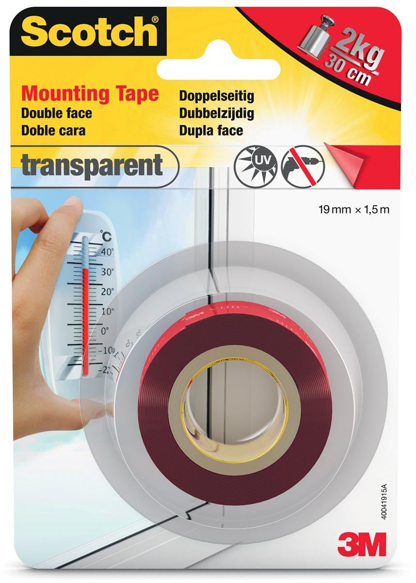 Scotch montagetape Transparent, ft 19 mm x 1,5 m, blisterverpakking