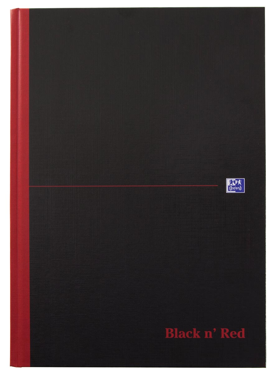 Oxford BLACK N' RED gebonden boek, 192 bladzijden, ft A4, geruit 5 mm