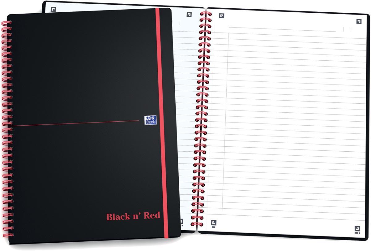 Oxford BLACK N' RED spiraalblok kunststof, 140 bladzijden ft A4, gelijnd