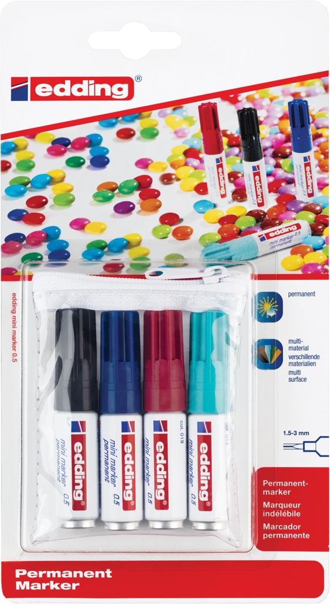 Edding permanent marker mini etui van 4 stuks in geassorteerde kleuren