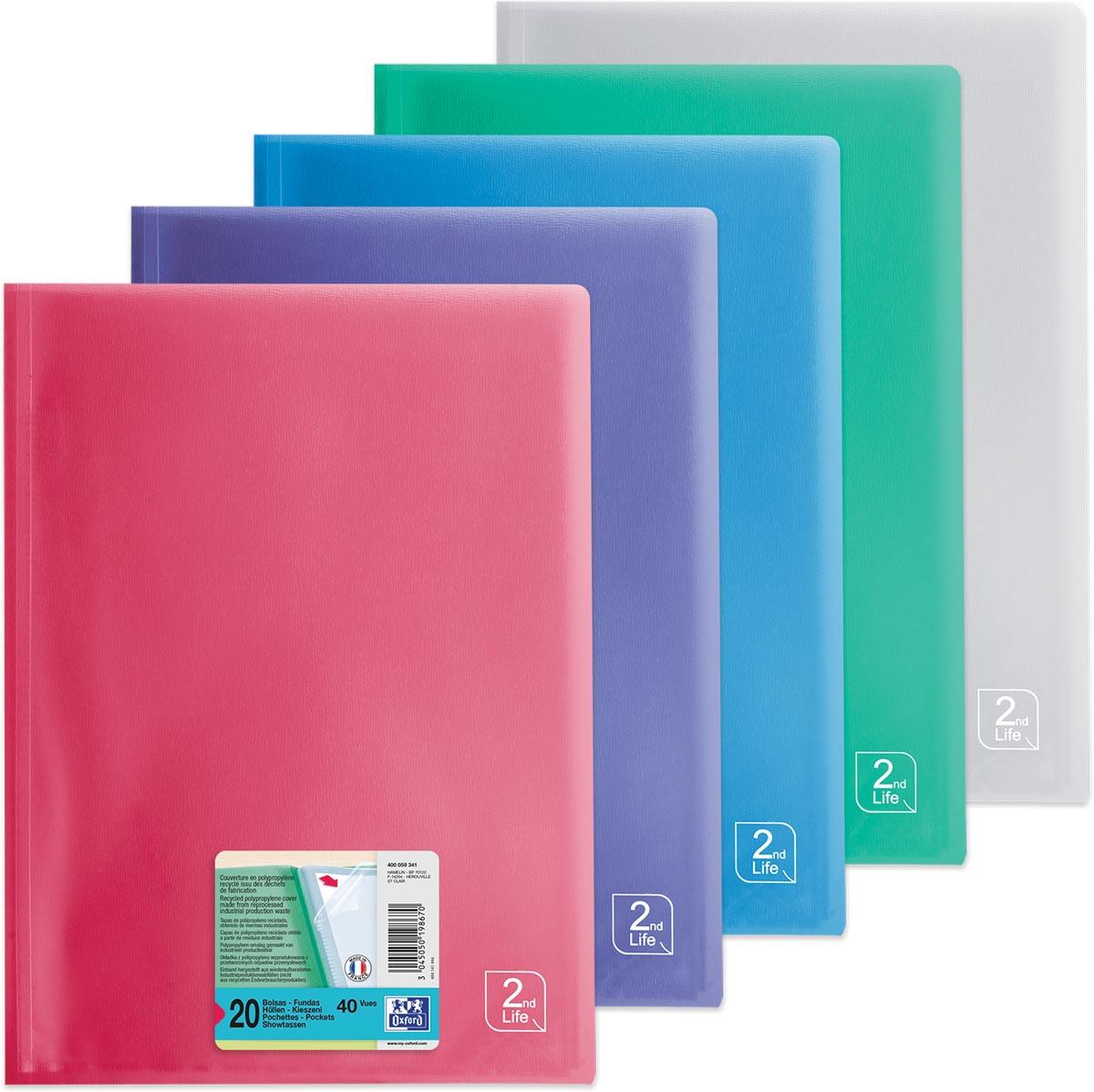 OXFORD 2nd Life presentatiealbum, formaat A4, uit PP, met 20 tassen, geassorteerde kleuren