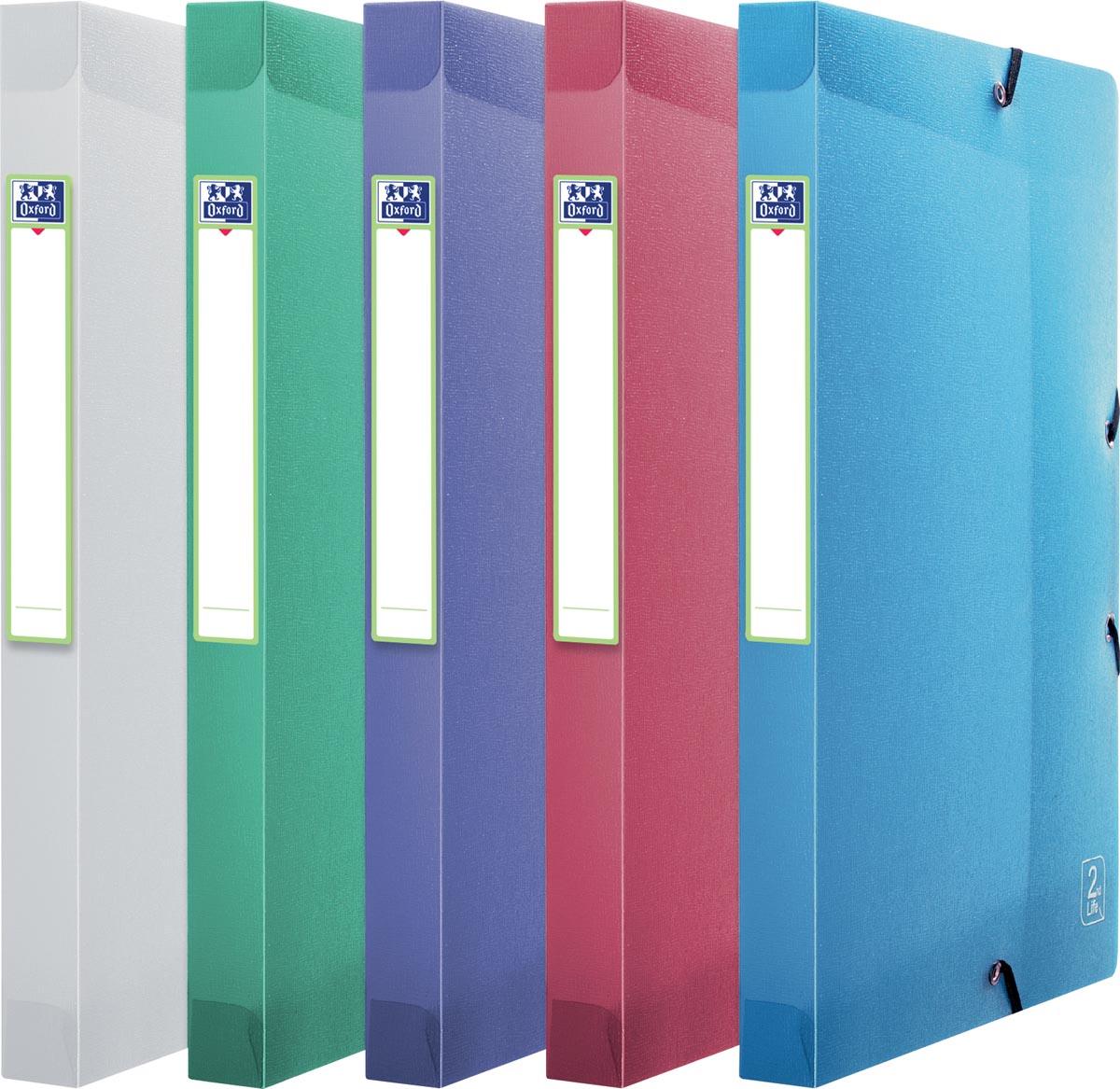 Elba 2nd Life elastobox, ft A4, rug van 2,5 cm, uit PP , geassorteerde kleuren
