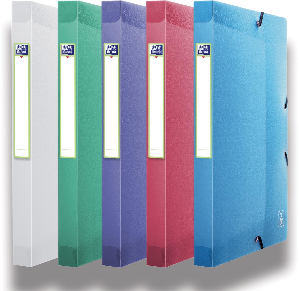 OXFORD 2nd Lide elastobox, formaat A4, uit PP, rug van 2,5 cm, geassorteerde kleuren