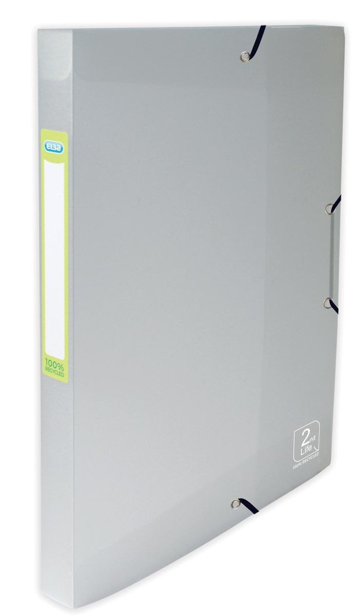 Elba 2nd Life elastobox, ft A4, rug van 2,5 cm, uit PP, transparant