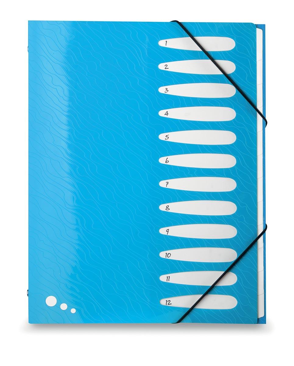 Elba Art Pop sorteermap, ft A4, 12 vakken, uit PP, blauw