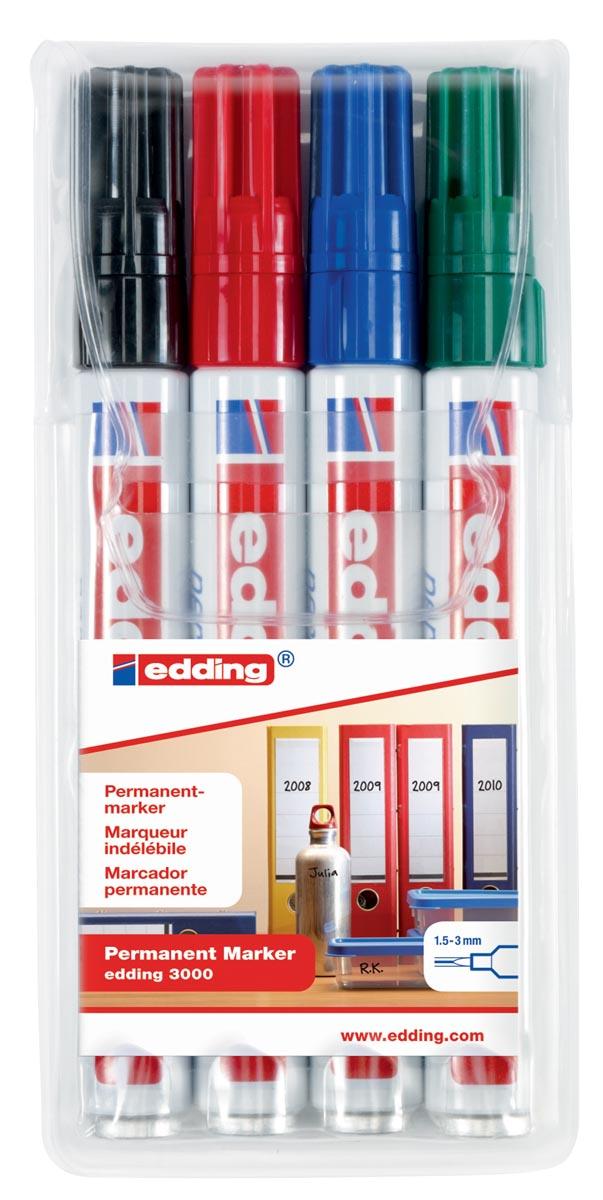 Edding permanent marker 3000, etui van 4 stuks in geassorteerde kleuren