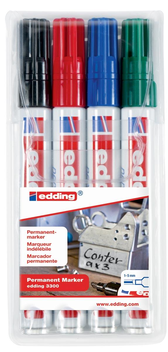 Edding permanent marker e-3300 etui van 4 stuks in geassorteerde kleuren