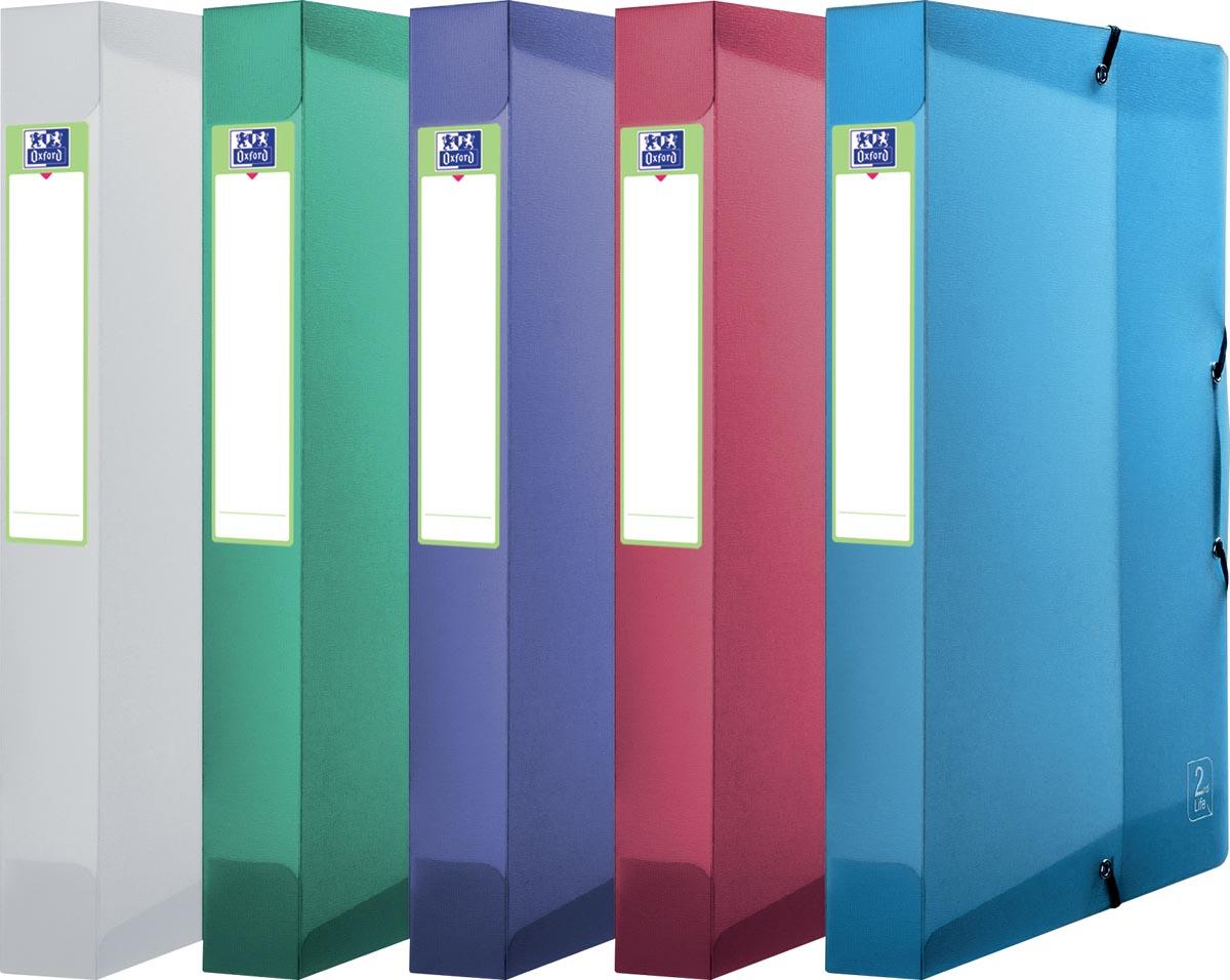OXFORD 2nd Lide elastobox, formaat A4, uit PP, rug van 4 cm, geassorteerde kleuren