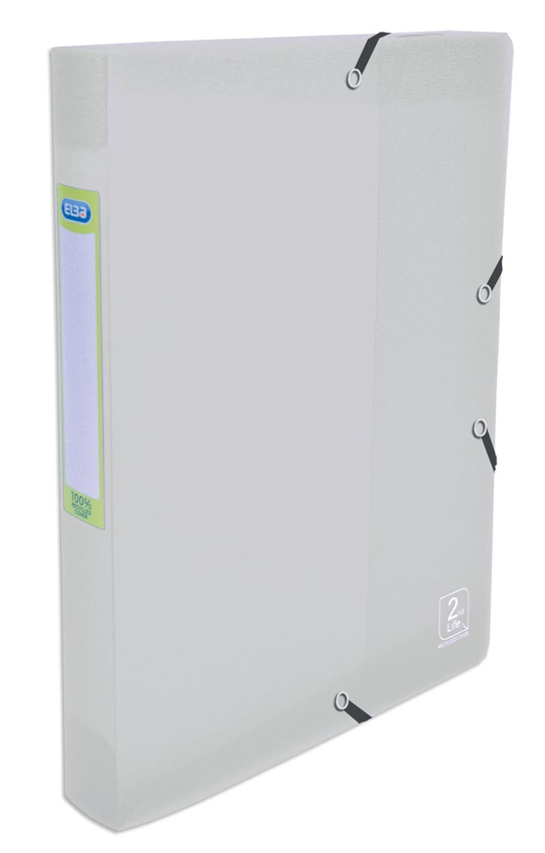 Elba 2nd Life elastobox, voor ft A4, rug van 4 cm, uit PP, transparant
