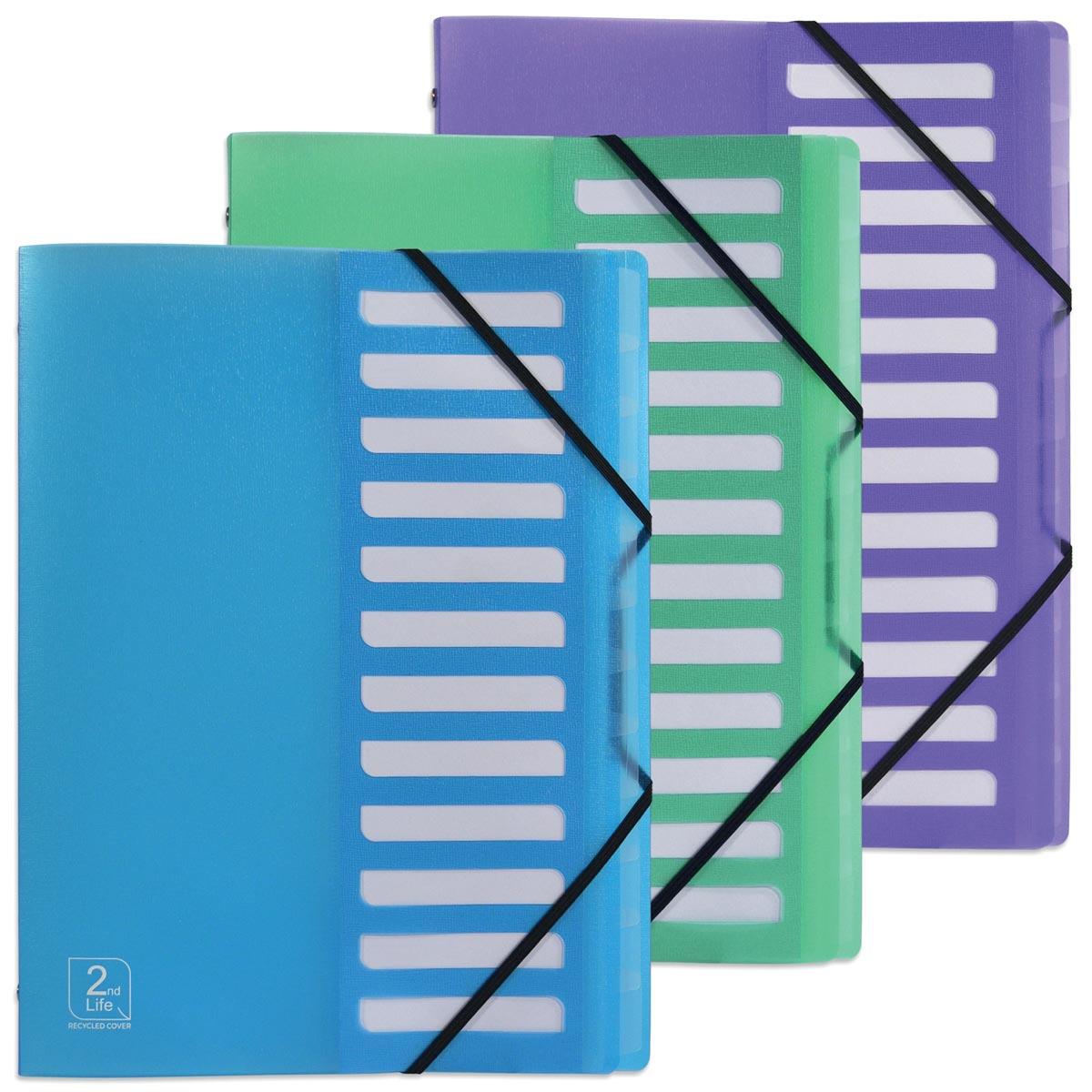Elba 2nd Life sorteermap, ft A4, 12 tabs, uit PP , geassorteerde kleuren