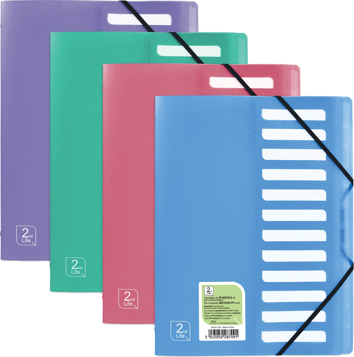 OXFORD 2nd Life sorteermap, formaat A4, uit PP, 12 tabs, geassorteerde kleuren
