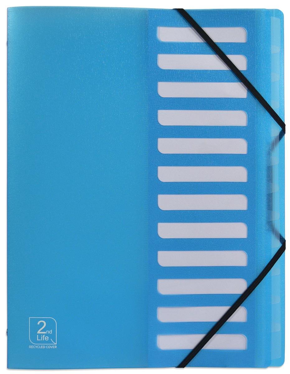 Elba 2nd Life sorteermap, ft A4 , 12 tabs, uit PP, blauw
