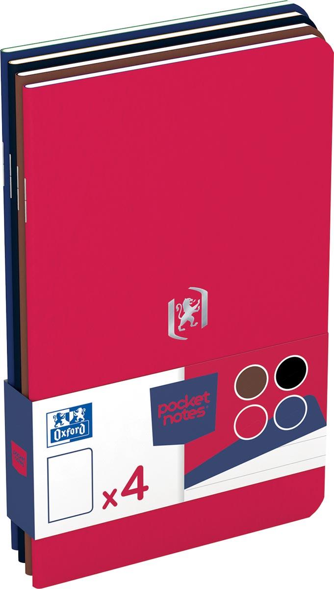 Oxford Pocket Notes, ft 9 x14 cm, gelijnd, 48 bladzijden, geassorteerde classic kleuren, pak van 4 s