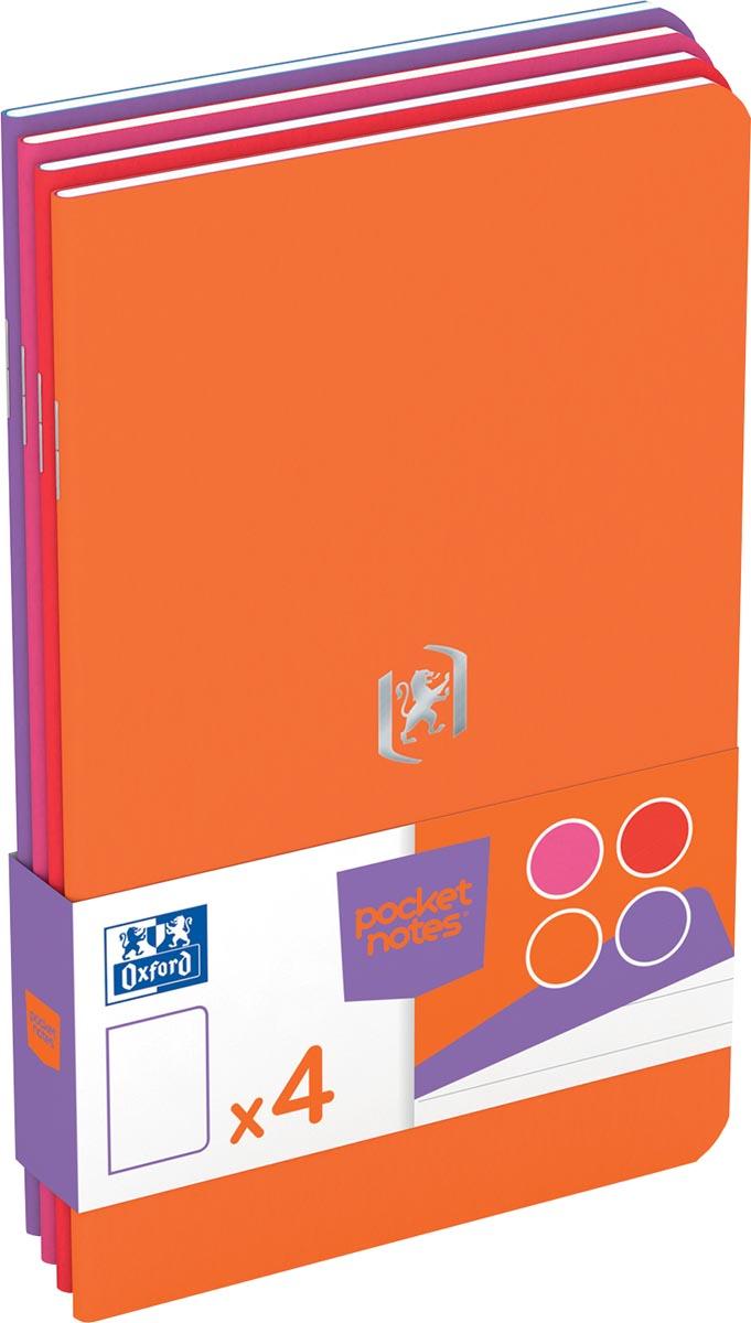 Oxford Pocket Notes, ft 9 x 14 cm, gelijnd, 48 bladzijden, geassorteerde vrouwelijke kleuren, pak 4