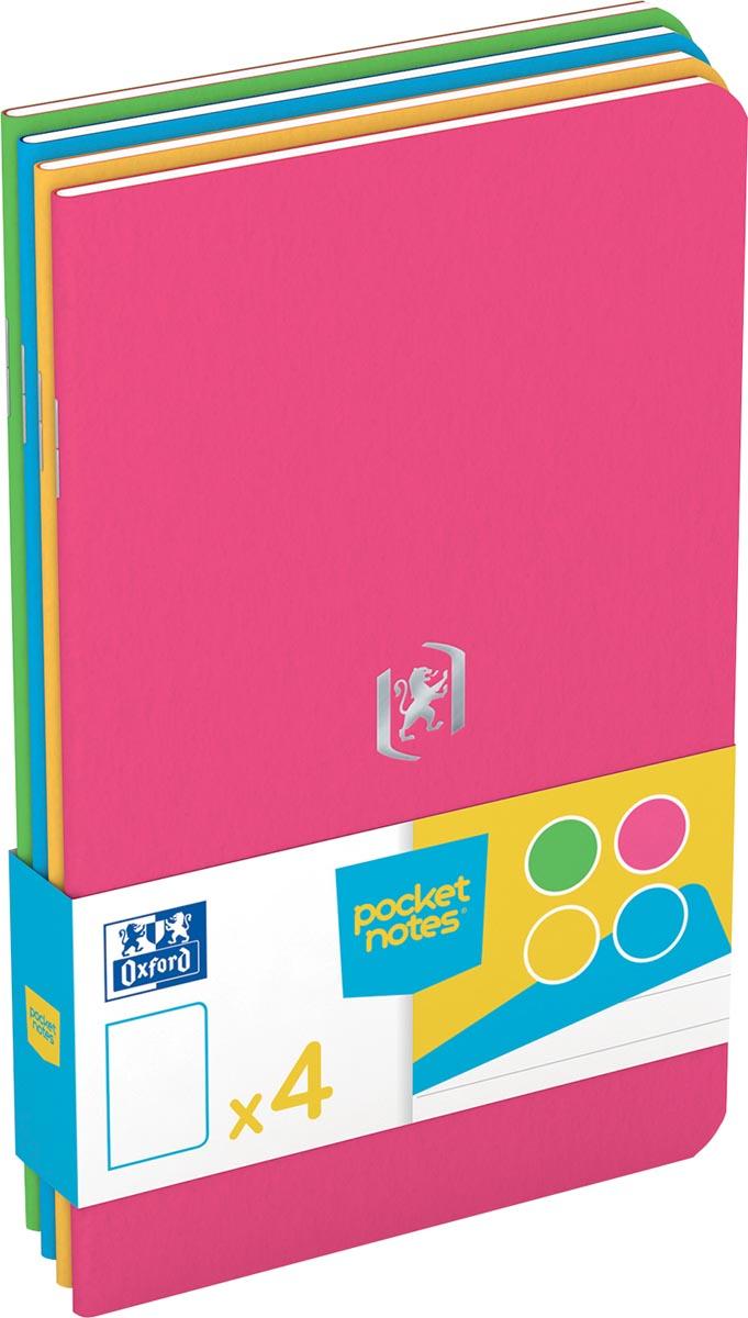 Oxford Pocket Notes, ft 9 x 14 cm, gelijnd, 48 bladzijden, geassorteerde fun kleuren, pak van 4 stuk