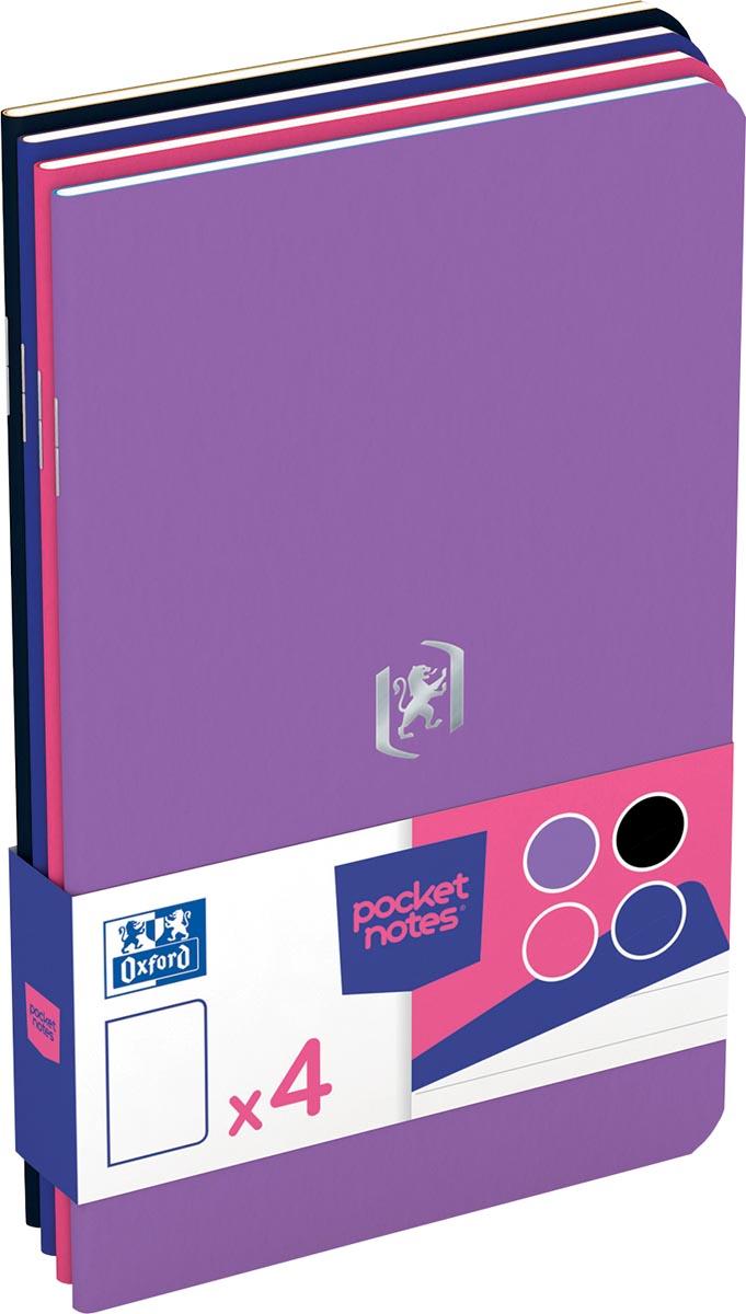Oxford Pocket Notes, ft 9 x 14 cm, gelijnd, 48 bladzijden, geassorteerde mixed kleuren, pak van 4 st