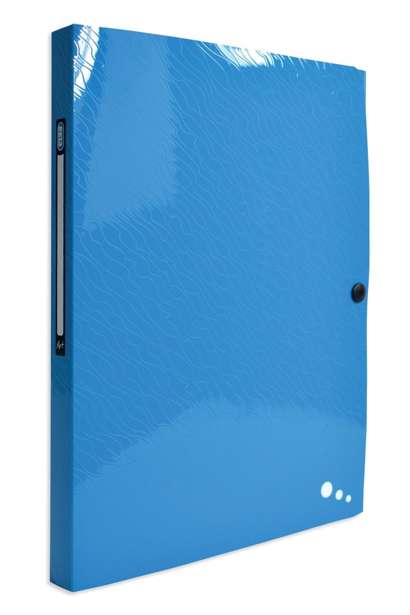 Elba Art Pop elastobox, voor ft A4, rug van 2,5 cm, uit PP, blauw