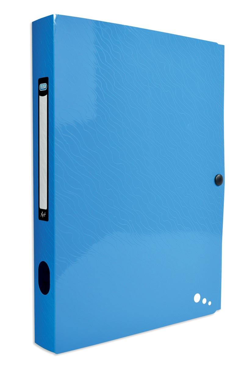 Elba Art Pop elastobox, voor ft A4, rug van 4 cm, uit PP, blauw