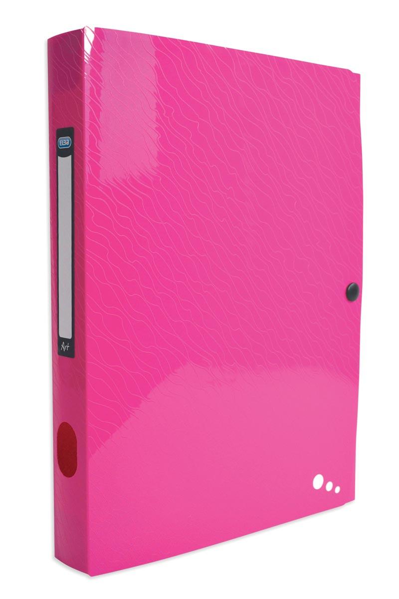 Elba Art Pop elastobox, voor ft A4, rug van 4 cm, uit PP, roze