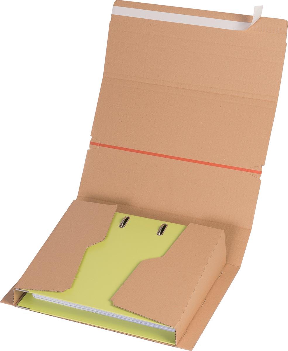 Elba verzenddoos voor ordners A4, ft 32 x 29 x 3,5-8 cm, bruin