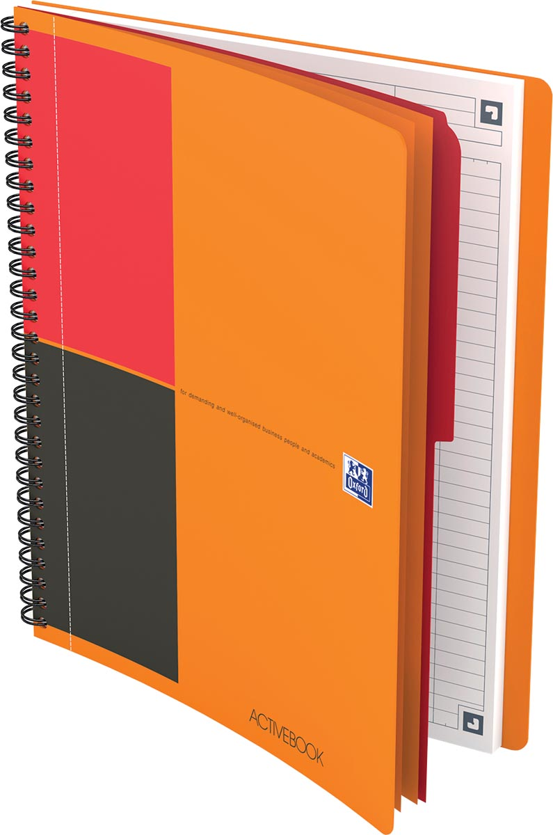 Oxford INTERNATIONAL activebook connect, stevige kartonnen kaft oranje, 160 bladzijden, ft B5, gelij