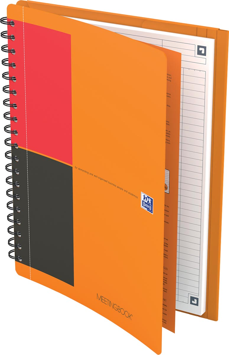 Oxford INTERNATIONAL meetingbook connect, stevige kartonnen kaft oranje, 160 bladzijden,ft B5, gelij