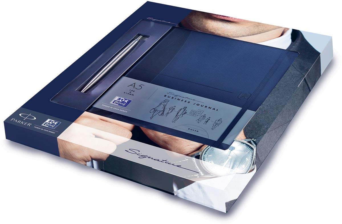 Oxford en Parker geschenkpakket, Signature A5 notitieboek + Jotter steel balpen