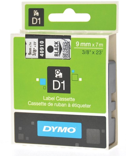 Dymo D1 tape 9 mm, zwart op transparant