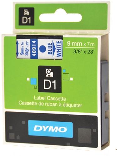 Dymo D1 tape 9 mm, blauw op wit