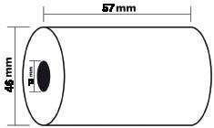 Exacompta thermische rekenrol ft 57 mm, diameter +-46 mm, asgat 12 mm, lengte 24 meter, pak van 5 ro