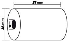 Exacompta thermische rekenrol ft 57 mm, diameter +-46 mm, asgat 12 mm, lengte 46 meter, pak van 5 ro