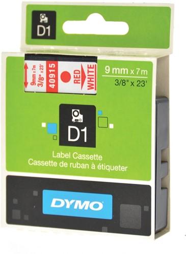 Dymo D1 tape 9 mm, rood op wit