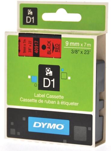 Dymo D1 tape 9 mm, zwart op rood