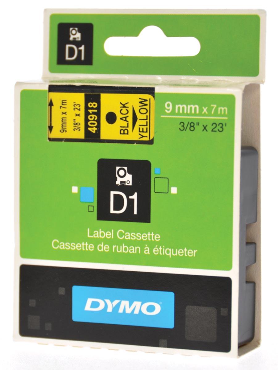 Dymo D1 tape 9 mm, zwart op geel