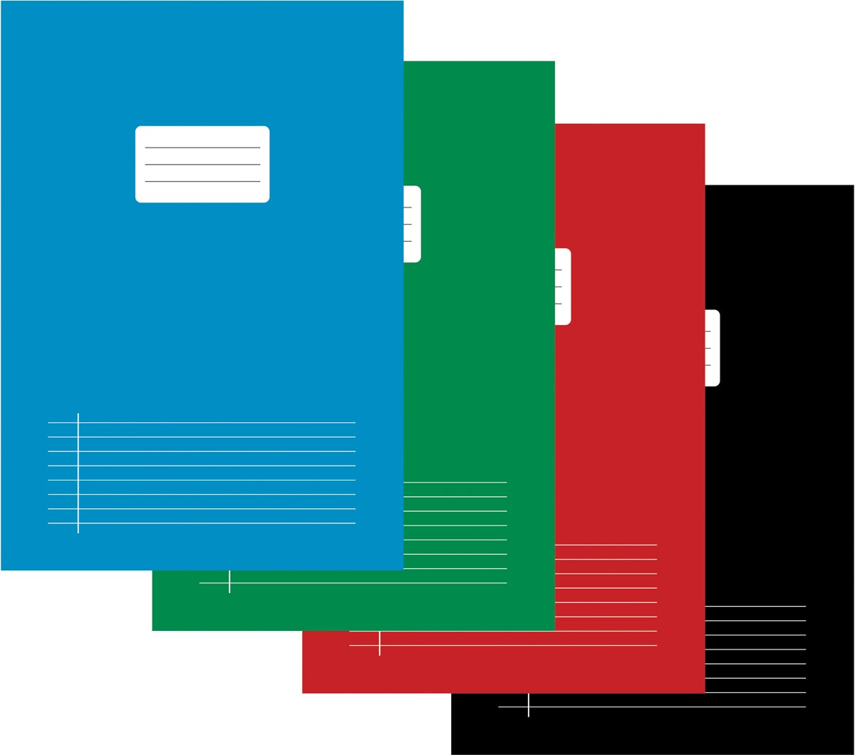 Schrift voor ft A4, gelijnd, 80 bladzijden, met voorlijn, geassorteerde kleuren, pak van 5 stuks