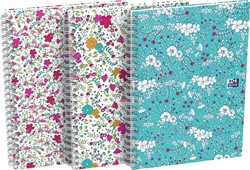 Oxford Floral hardcover spiraalschrift, ft A5, 60 vel, geruit 5 mm, 3 geassorteerde designs