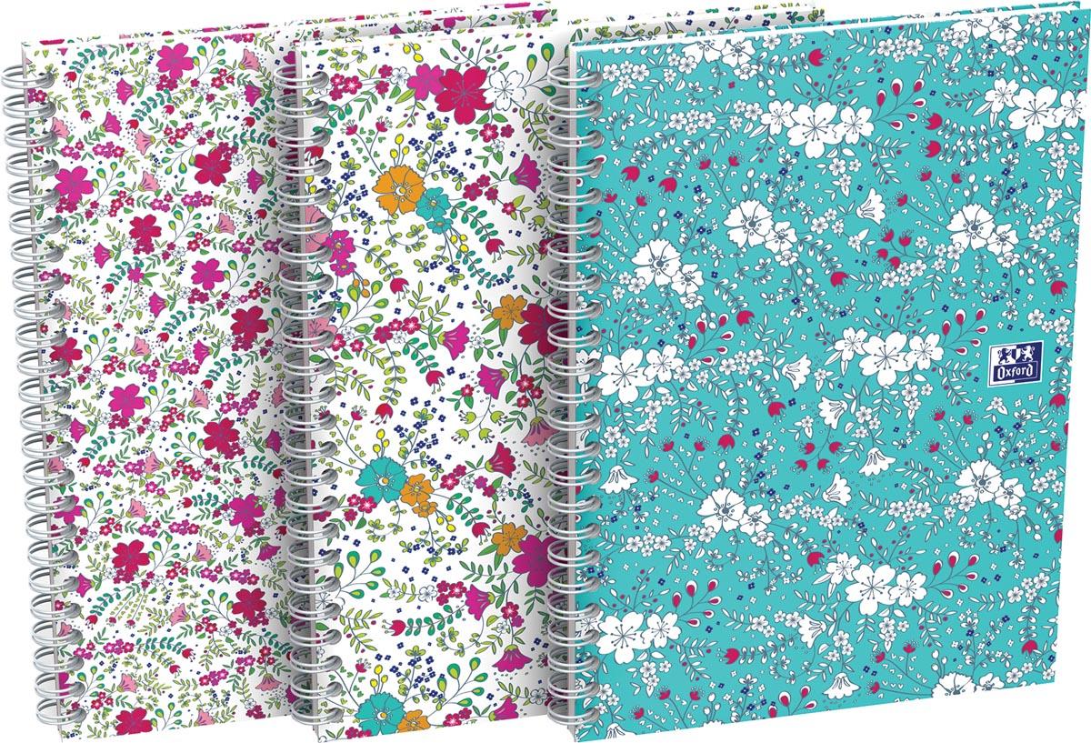 Oxford Floral hardcover spiraalschrift, ft A5, 60 vel, geruit 5 mm, 4 geassorteerde designs