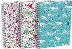 Oxford Floral hardcover spiraalschrift, ft B5, 60 vel, gelijnd, 3 geassorteerde designs