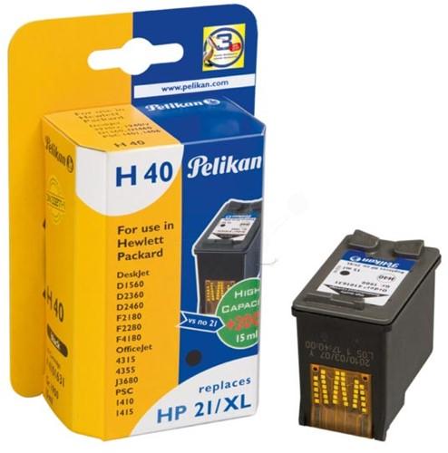 Pelikan inktcartridge zwart, 475 pagina's voor HP 21XL - OEM: C9351CE