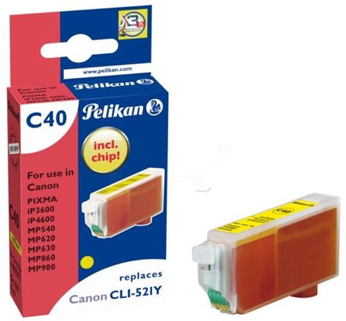 Pelikan inktcartridge geel, 477 pagina's voor Canon CLI-521Y - OEM: 2936B001
